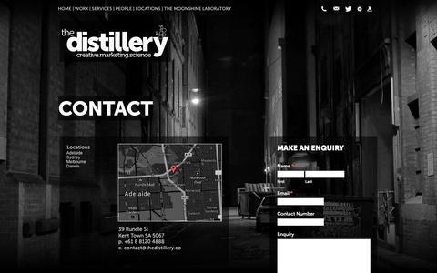 Screenshot of Contact Page Locations Page thedistillery.co - Contact - The Distillery - Digital Agency - captured Oct. 24, 2014