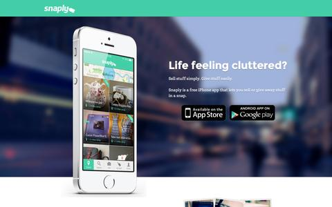 Screenshot of Home Page snaply.co.uk - Snaply: Sell Stuff Simply. Give Stuff Easily. - captured Oct. 9, 2015