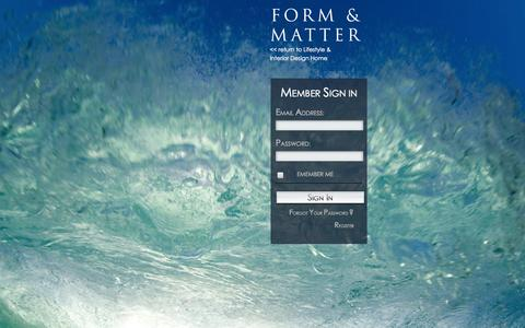 Screenshot of Login Page formandmatter.com - Login | FORM & MATTER - captured Nov. 3, 2014