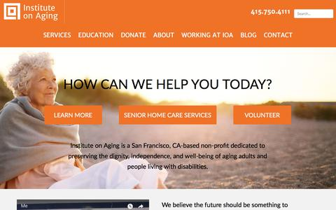 Screenshot of Home Page ioaging.org - Institute on Aging | Senior Home Care Services & Resources in San Francisco - captured Oct. 15, 2017