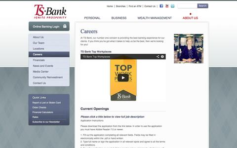 Screenshot of Jobs Page tsbank.com - Careers at TS Bank | Treynor, IA - Council Bluffs, IA - Macedonia, IA - captured Oct. 7, 2014