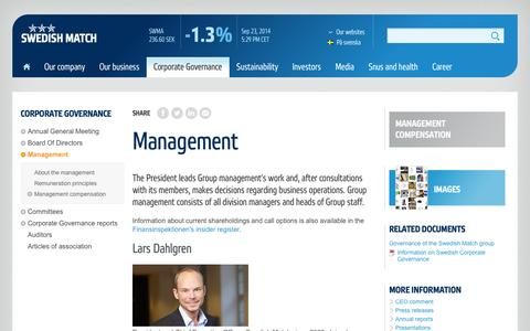 Screenshot of Team Page swedishmatch.com - Management - Swedish Match - captured Sept. 24, 2014