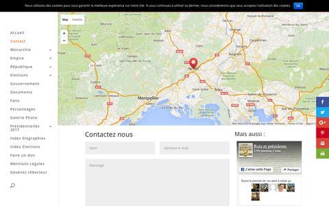 Screenshot of Contact Page roi-president.com - Une question, des renseignements, envie de participez contactez nous - captured June 2, 2016