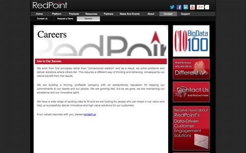 Screenshot of Jobs Page redpoint.net - Careers - captured Sept. 17, 2014