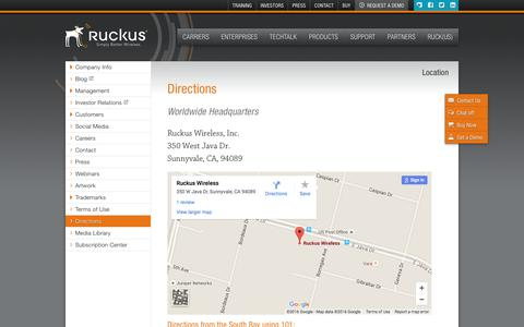 Screenshot of Maps & Directions Page ruckuswireless.com - Directions | Ruckus Wireless, Inc. - captured July 3, 2016