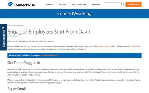 Screenshot of Team Page connectwise.com - Engaged Employees Start From Day 1 - captured Jan. 3, 2020