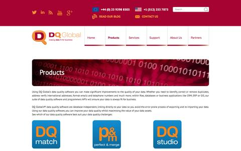 Screenshot of Products Page dqglobal.com - Data Quality Products | DQ Global - captured Oct. 10, 2014