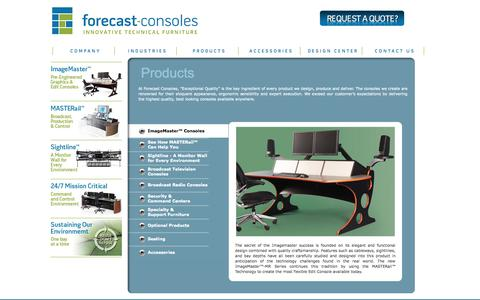 Screenshot of Products Page forecast-consoles.com - Forecast Consoles - Technical Furniture & Consoles for Broadcast, Production, Security, & Dispatch - captured Oct. 6, 2014