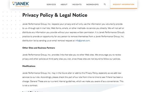 Screenshot of Privacy Page janek.com - Privacy Policy & Legal Notice | Janek Performance Group - captured Nov. 9, 2019