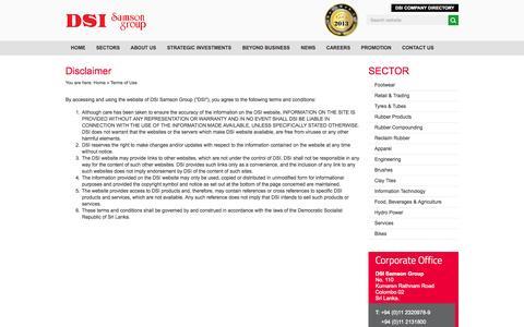 Screenshot of Terms Page dsi.lk - Terms of Use | DSI Samson Group - captured Nov. 3, 2014