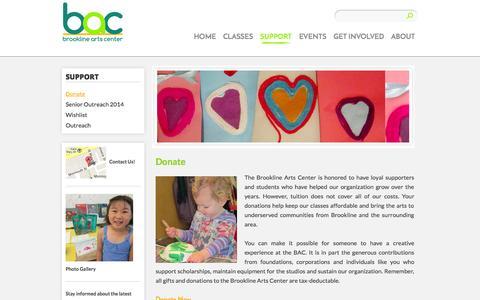 Screenshot of Support Page brooklineartscenter.com - Donate | Brookline Arts Center - captured Sept. 30, 2014