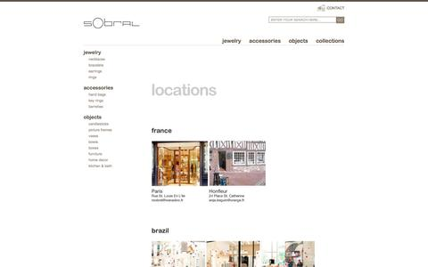 Screenshot of Locations Page sobralusa.com - SOBRAL - unique resin jewelry & gifts, hand crafted in Brazil - captured May 26, 2017