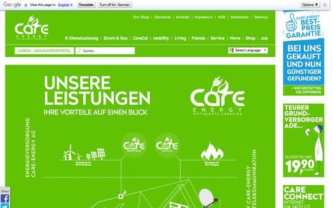 """Screenshot of Home Page care-mobility.com - Care-Energy """"Unsere Leistungen - Ihre Vorteile auf einen Blick"""" - Startseite - captured Feb. 14, 2016"""