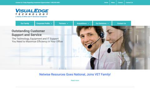 Screenshot of Home Page visualedgetechnology.com - Visual Edge Technology - a Leader in Total Office Solutions - captured Oct. 19, 2018
