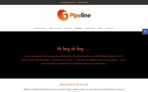 Screenshot of Products Page pipeline.net.nz - Pipeline Central Heating | Products - captured Sept. 28, 2018