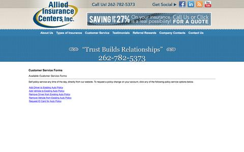 Screenshot of Support Page alliedinsurancecenters.com - Customer Service Forms - Allied Insurance Centers - captured Feb. 5, 2016