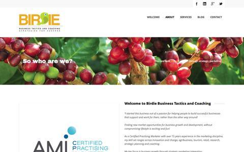 Screenshot of About Page birdiebusiness.com.au - Growth through strategic marketing, Gold Coast, Byron Bay - captured Nov. 3, 2014
