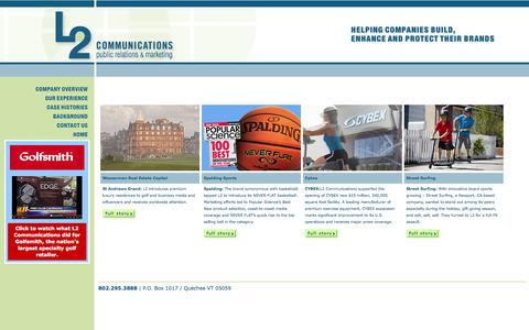 Screenshot of Home Page l2comm.biz - L2 Communications | Public Relations And Marketing - captured Oct. 1, 2014