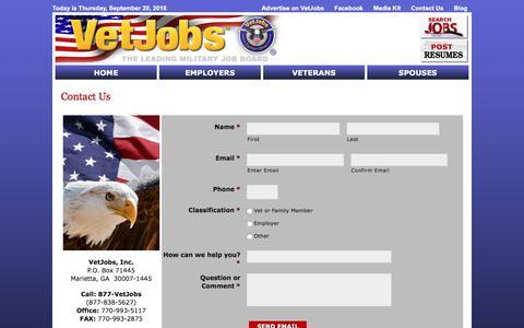 Screenshot of Contact Page vetjobs.com - Contact Us - VetJobs - captured Sept. 20, 2018
