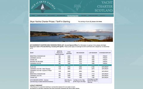 Screenshot of Pricing Page skyeyachts.co.uk - Charter Prices and Tariff - captured Oct. 26, 2014