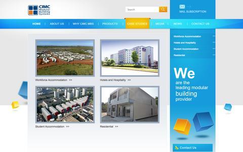Screenshot of Case Studies Page cimc-mbs.com - CIMC Modular Building Systems - captured Oct. 1, 2014