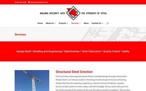 Screenshot of Services Page allstatesteel.com - Services | Allstate Steel Company, Inc. - captured Oct. 8, 2017