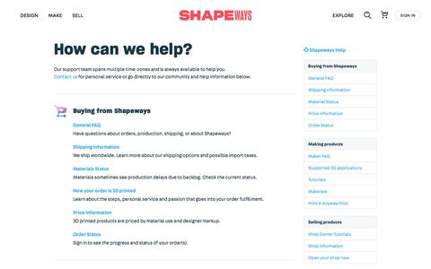 Screenshot of Support Page shapeways.com - How can we help? - Shapeways - captured Aug. 16, 2018