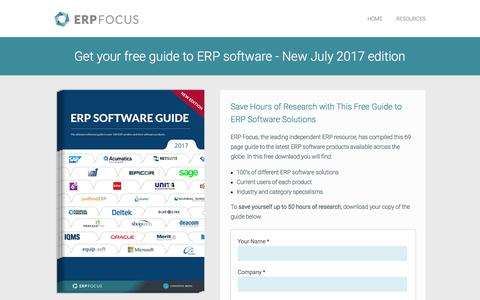 Screenshot of Landing Page erpfocus.com - ERP Software Guide - Global Edition - captured March 27, 2018