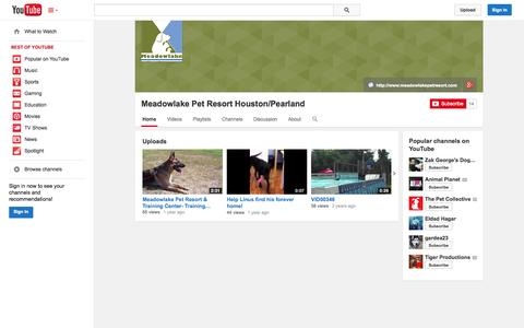 Screenshot of YouTube Page youtube.com - Meadowlake Pet Resort Houston/Pearland  - YouTube - captured Oct. 23, 2014