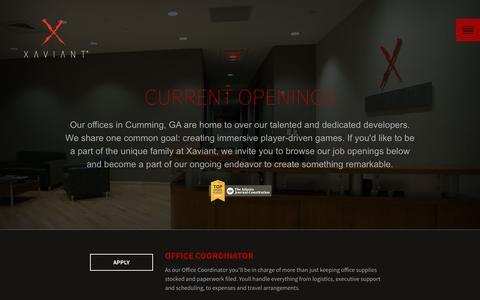 Screenshot of Jobs Page xaviant.com - Xaviant Careers | Game Design & Development | Gaming Jobs | Atlanta GA - captured Nov. 23, 2015