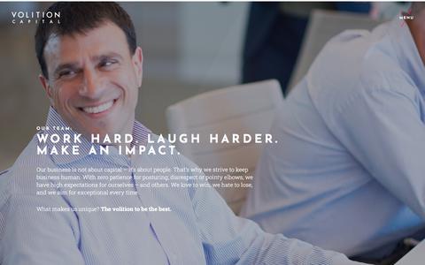 Screenshot of Team Page volitioncapital.com - Work Hard. Laugh Harder. Make an Impact. - captured Dec. 4, 2019
