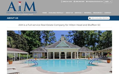 Screenshot of About Page absoluteisland.com - Hilton Head and Bluffton Property Management Company - captured Dec. 17, 2018