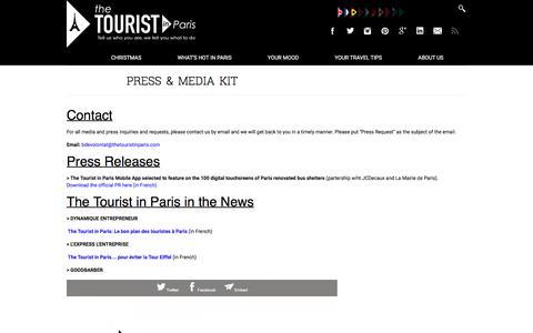 Screenshot of Press Page thetouristinparis.com - Press & Media Kit - The Tourist in Paris - captured Dec. 22, 2016