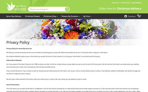 Screenshot of Privacy Page eflorist.co.uk - Privacy Policy - captured Dec. 16, 2017