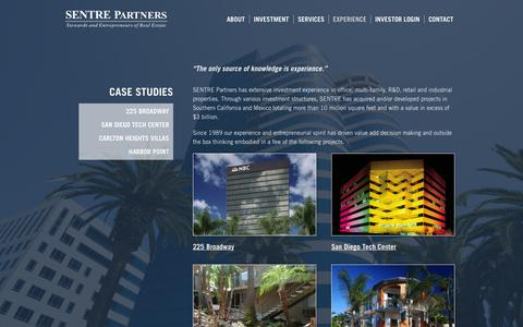 Screenshot of Case Studies Page sentre.com - Case Studies - SENTRE Partners - captured Oct. 3, 2014