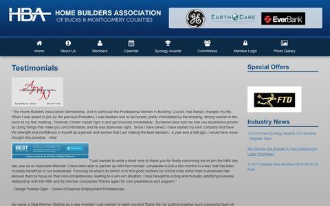Screenshot of Testimonials Page hbahomes.com - Home Builders Association of Bucks / Montgomery Counties   Testimonials - captured Jan. 31, 2016