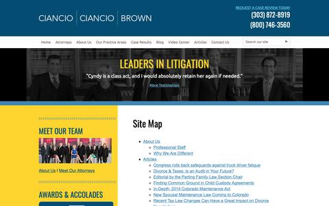 Screenshot of Site Map Page colo-law.com - Site Map | Ciancio Ciancio Brown, P.C. | Colorado Lawyers - captured Sept. 28, 2018