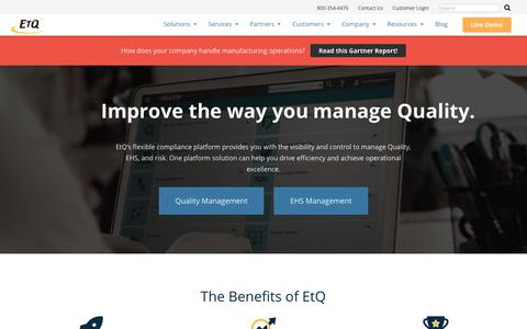 Quality & Compliance Management System | EHS Software & Tools - EtQ