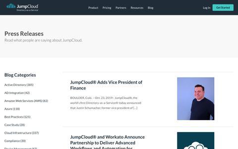 Screenshot of Press Page jumpcloud.com - Press Releases Archive - JumpCloud - captured Nov. 16, 2019