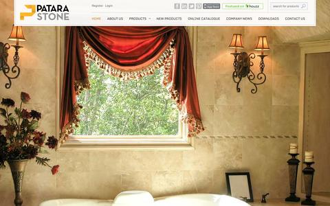 Screenshot of Home Page patarastone.com - Patara Stone   Marble Travertine Tiles, Slabs, Cut to Sizes and Decos - captured Jan. 22, 2016