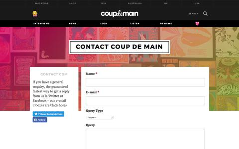 Screenshot of Contact Page coupdemainmagazine.com - Contact Coup De Main   Coup De Main Magazine - captured June 29, 2017
