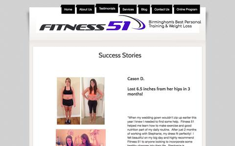 Screenshot of Testimonials Page fitness51.com - Personal Training, Birmingham, AL - captured Aug. 14, 2018