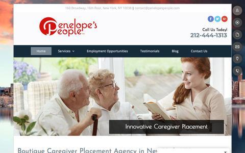 Screenshot of Home Page penelopespeople.com - Caregiver - New York, NY - Penelope's People™ - captured July 16, 2018