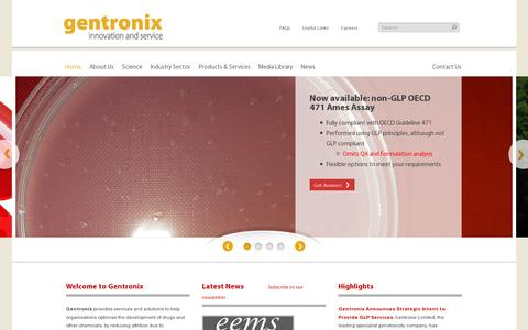 Screenshot of Home Page gentronix.co.uk - Welcome to Gentronix   GentronixGentronix   Gentoxicity Screening Assays and Services - captured July 11, 2014