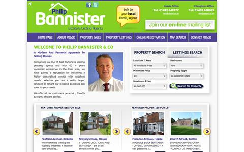 Screenshot of Home Page philipbannister.co.uk - Philip Bannister Estate & Letting Agents - captured Oct. 2, 2014