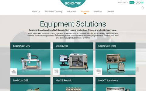 Screenshot of Products Page sono-tek.com - Products | Sono-Tek - captured Oct. 19, 2018
