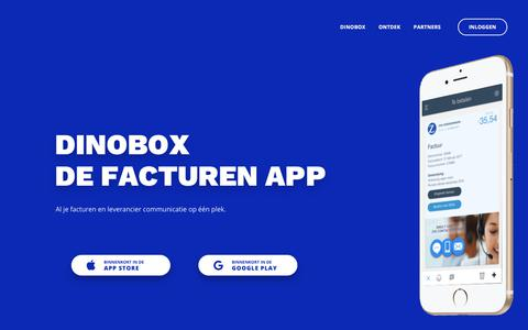Screenshot of Home Page dinobox.nl - Dinobox | de facturen App - captured Aug. 7, 2018