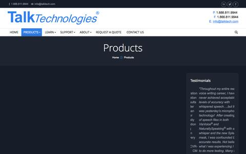 Screenshot of Products Page talktech.com - Talk Technologies | Products - Talk Technologies - captured Oct. 7, 2014