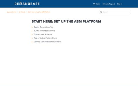 Screenshot of Support Page demandbase.com - Start Here: Set Up the ABM Platform – Success Center - captured Nov. 6, 2019