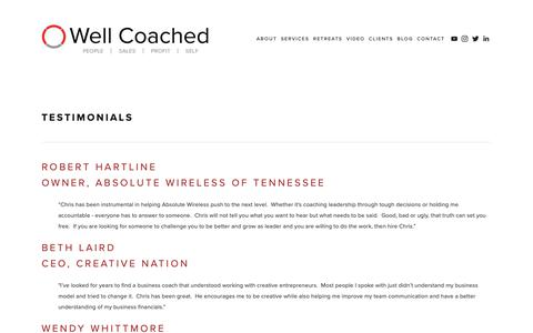 Screenshot of Testimonials Page wellcoachedconsulting.com - Testimonials — Well Coached - captured Oct. 20, 2018